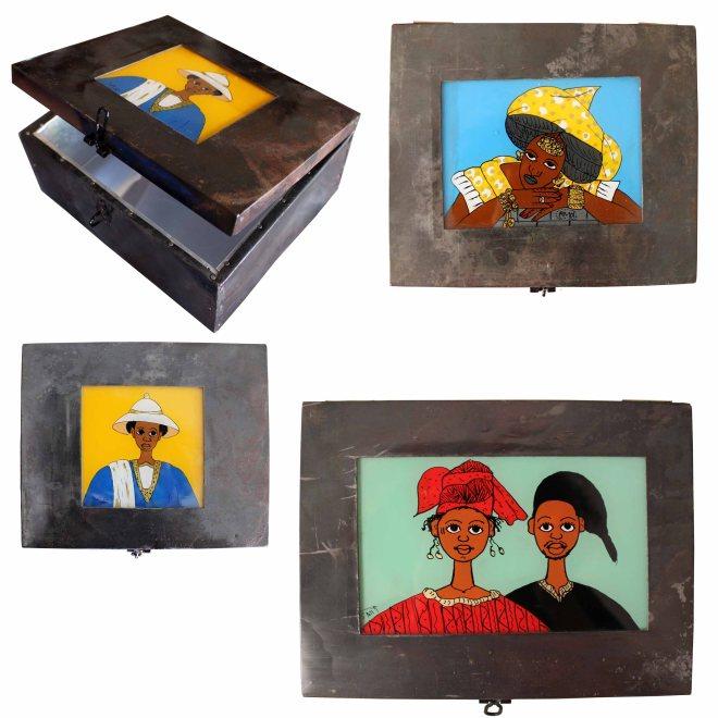 boîtes en fer avec fixés