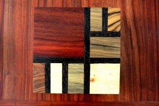 boite Mondrian carrée en bois précieux